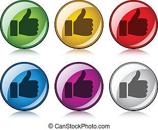 vetorial, polegares cima, botões