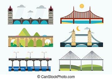 vetorial, ponte, jogo, silueta, ilustração