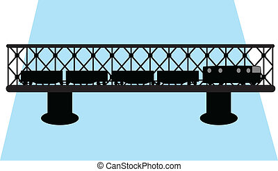 vetorial, ponte, trem, silueta