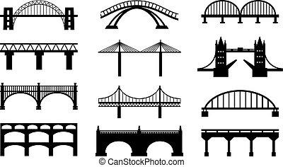 vetorial, pontes, silhuetas, ícones