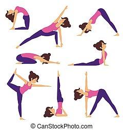 vetorial, poses, ioga