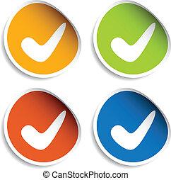 vetorial, positivo, checkmark, adesivos