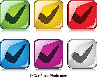 vetorial, positivo, checkmark, botões