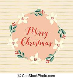 vetorial, poste, flor, feliz, cartaz, cartão, vindima, mistletoe, saudação, apartamento, natal, blog, bandeiras, wreath., blog, mão, desenhado, feriado, escandinavo, style., illustration.