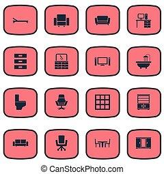 vetorial, praia, jogo, furniture., simples, sofá, icons.,...