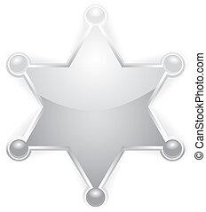 vetorial, prata, xerife, protagonize distintivo, branco