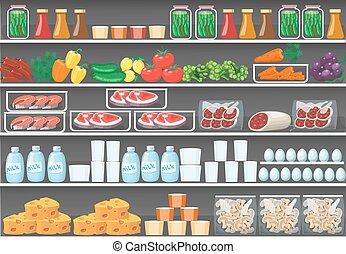 vetorial, prateleiras, alimento, supermercado, products., fundo