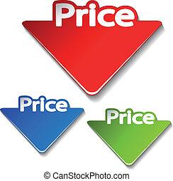 vetorial, preço, etiquetas