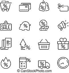 vetorial, preço, interesse, vendas, crédito, icon., dinheiro, pessoas, desconto, casa, conceito, símbolos