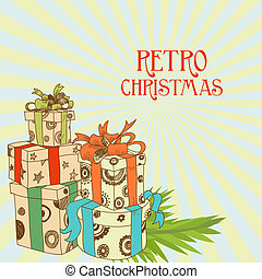 vetorial, presente, retro, ilustração, natal