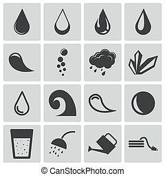 vetorial, pretas, água, ícones, jogo