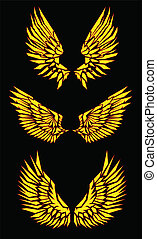 vetorial, pretas, amarela, vermelho, asas