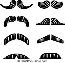 vetorial, pretas, bigode, ícones