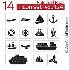 vetorial, pretas, bote, jogo, ícones, navio