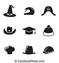 vetorial, pretas, capacete, e, chapéu, ícones, jogo