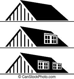 vetorial, pretas, casa, telhado, silueta
