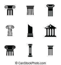 vetorial, pretas, coluna, ícones, jogo
