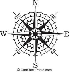 vetorial, pretas, compasso