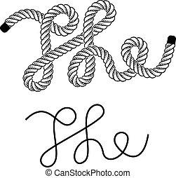 vetorial, pretas, corda, a, vindima, símbolo