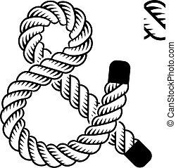 vetorial, pretas, corda, ampersand, símbolo