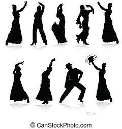 vetorial, pretas, dançarinos, flamenco