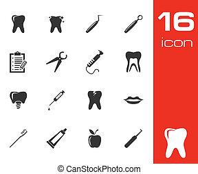 vetorial, pretas, dental, ícones, jogo
