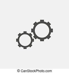 vetorial, pretas, engrenagem, color., ícone, eps10, ilustração