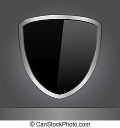 vetorial, pretas, escudo
