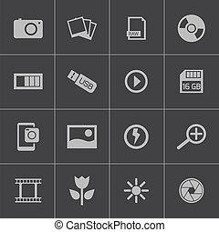 vetorial, pretas, foto, jogo, ícones