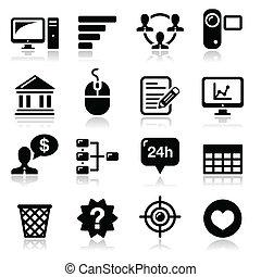 vetorial, pretas, internet, teia, ícones