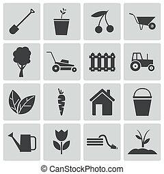 vetorial, pretas, jardinagem, ícones, jogo