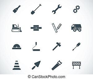 vetorial, pretas, jogo construção, ícones