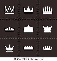 vetorial, pretas, jogo, coroa, ícones