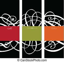 vetorial, pretas, jogo, de, 3, modernos, bordas