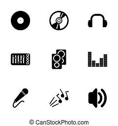 vetorial, pretas, jogo, dj, ícone