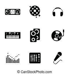vetorial, pretas, jogo, dj, ícones