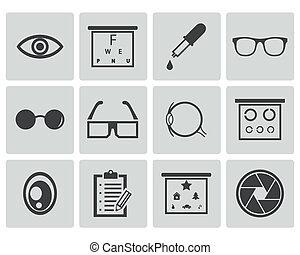 vetorial, pretas, jogo, optometry, ícones