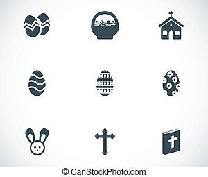 vetorial, pretas, jogo, páscoa, ícones