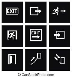 vetorial, pretas, jogo, saída, ícone