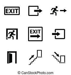 vetorial, pretas, jogo, saída, ícones