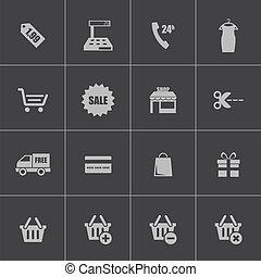 vetorial, pretas, jogo, shopping, ícones