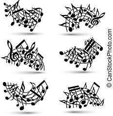 vetorial, pretas, jovial, aduelas, com, partituras, branco, fundo