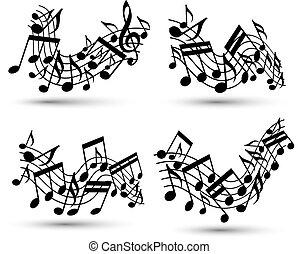 vetorial, pretas, jovial, ondulado, aduelas, com, partituras, branco, backg