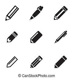 vetorial, pretas, lápis, ícones, jogo