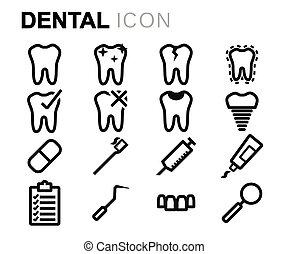vetorial, pretas, linha, dental, ícones, jogo