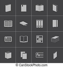 vetorial, pretas, livro, jogo, ícones