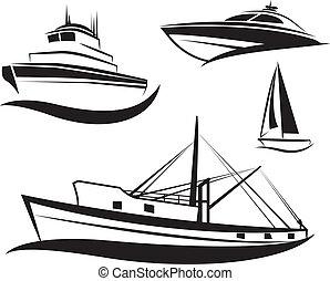 vetorial, pretas, navio, e, bote, jogo