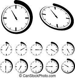 vetorial, pretas, redondo, cronômetro, ícones