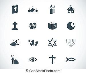 vetorial, pretas, religião, jogo, ícones