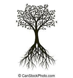 vetorial, pretas, root., árvore, illustration.